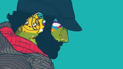 Ilustração de homem colorido com barba e boné