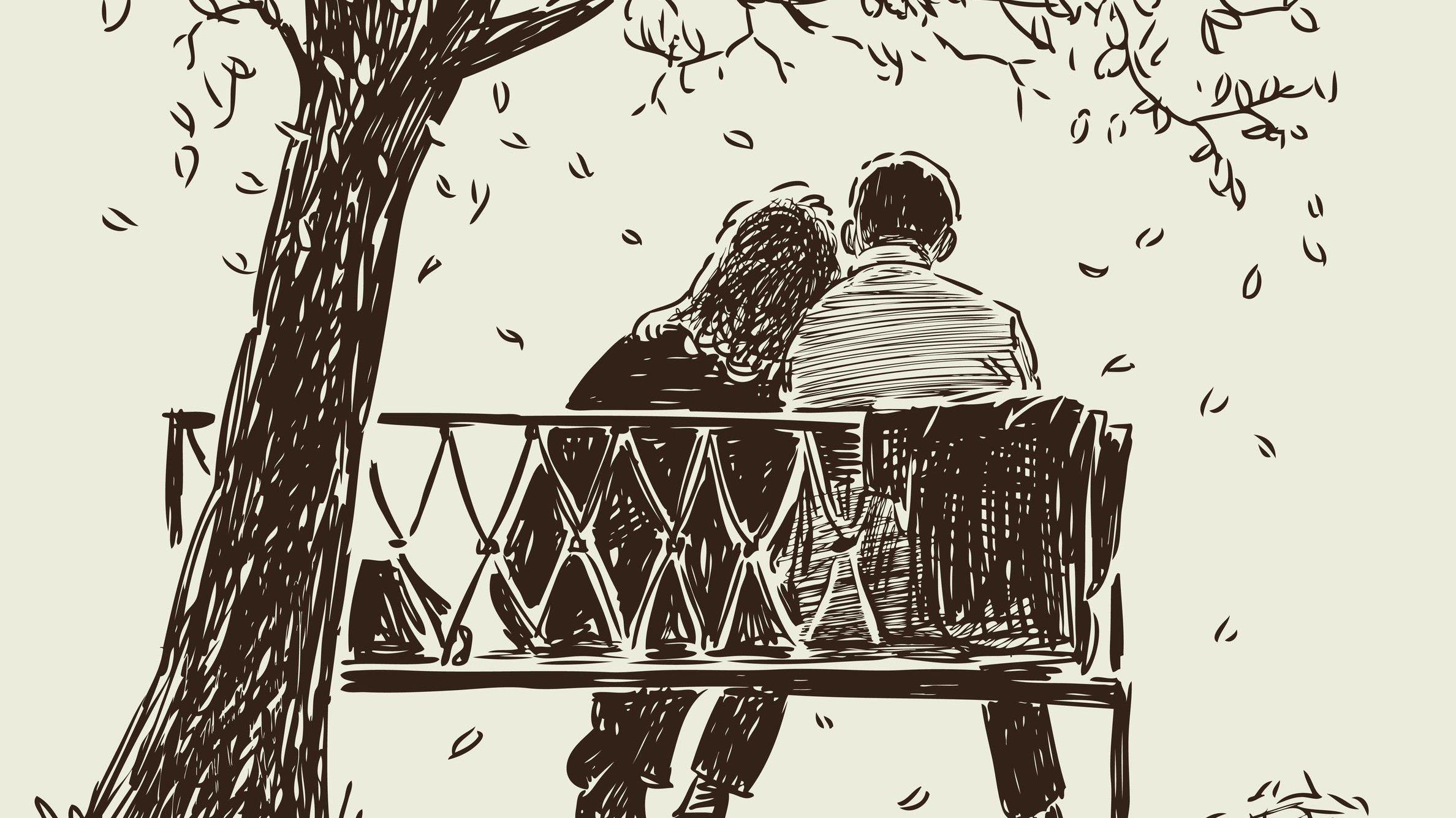Desenho de um casal sentado debaixo de uma árvore