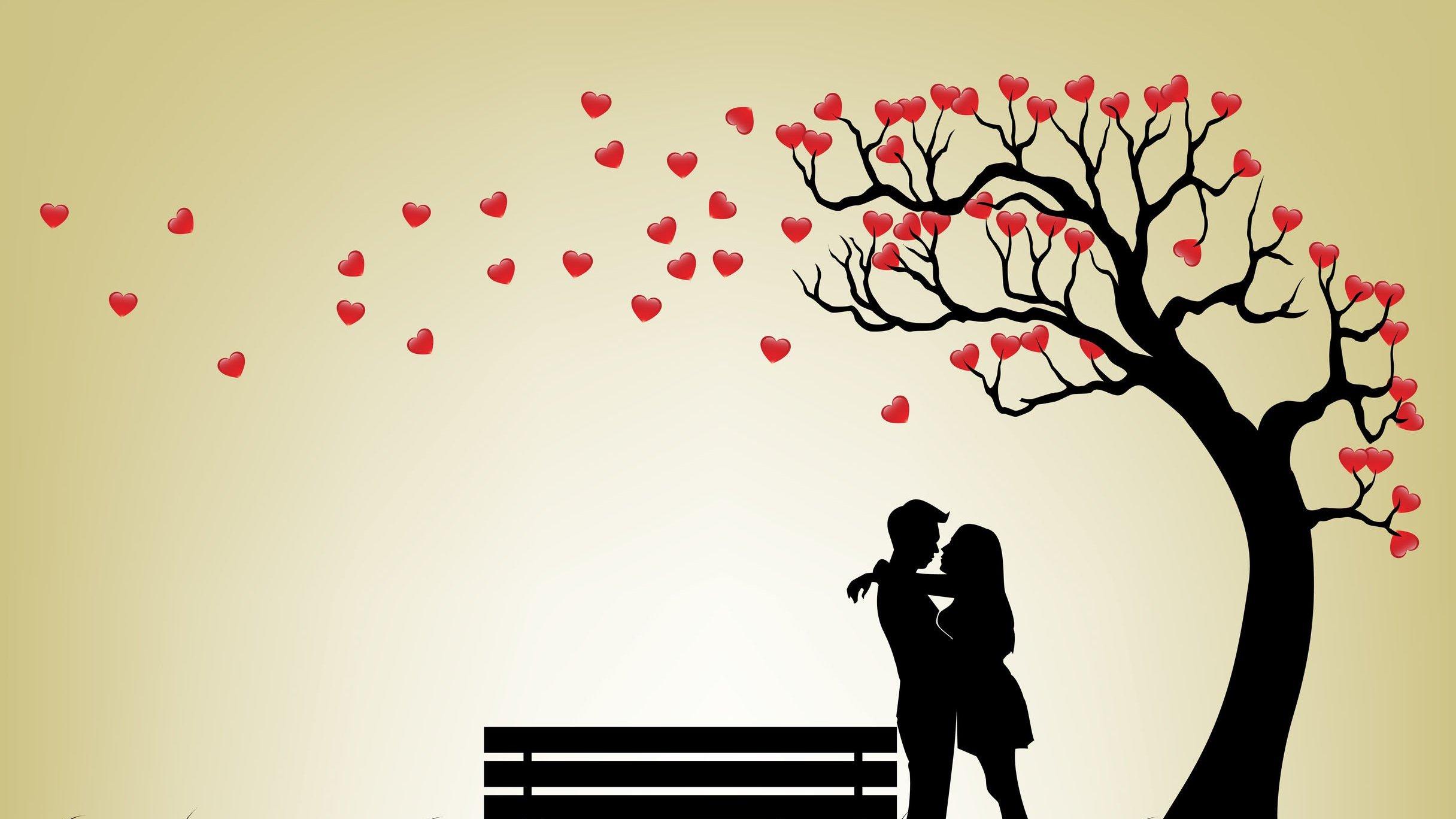 Desenho de um casal debaixo de uma árvore de corações