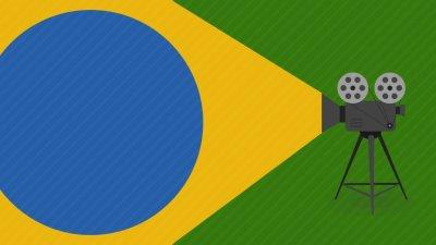 Projetor cinematográfico colocando a Bandeira do Brasil
