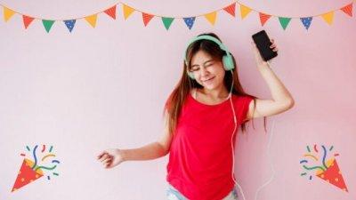 Garota ouvindo música no fone conectada ao celular com ícones de festa de aniversário