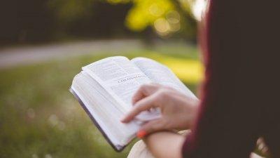 Braço de mulher segurando bíblia