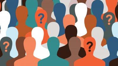Ilustração gráfica de silhueta de pessoas de diversas cores, com pontos de interrogação