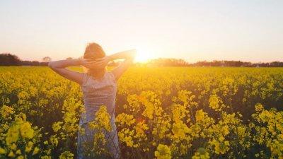 Mulher em meio a um campo de flores