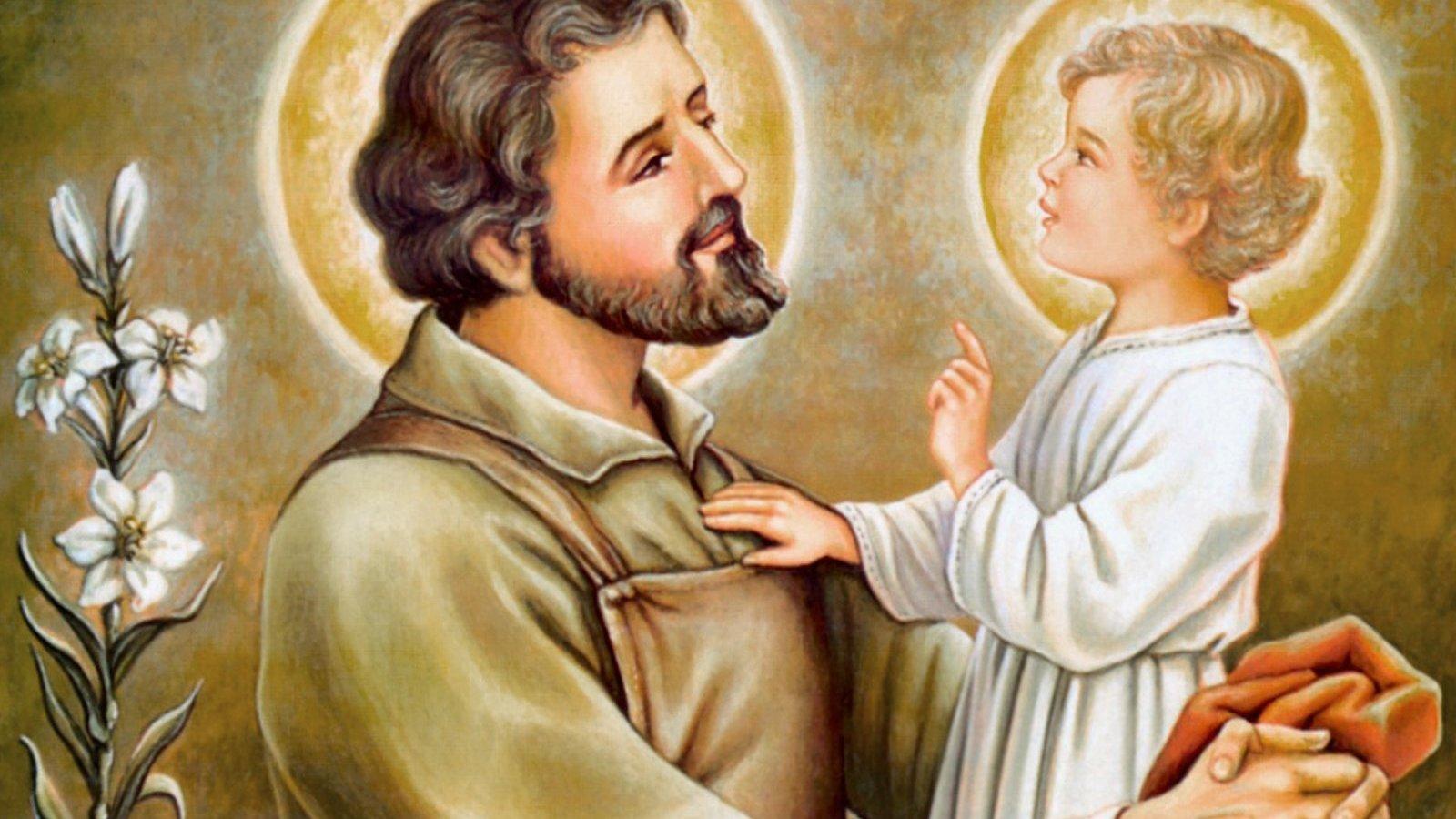 Pintura de São José segurando Jesus criança