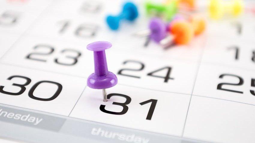 Imagem de um calendário, com destaque para o dia 31