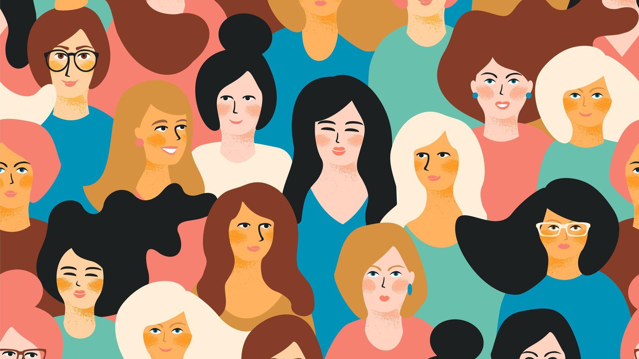 Ilustração de uma multidão de mulheres