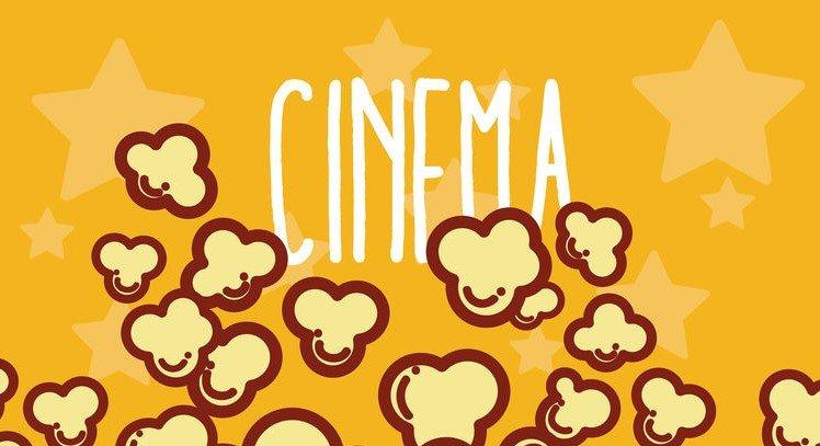 Ilustração da palavra Cinema e pipocas embaixo