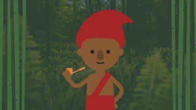 Ilustração do personagem Saci em uma floresta