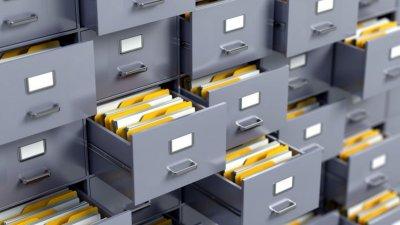 Gavetas com arquivos