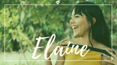 Elaine escrito sobre foto de mulher sorridente