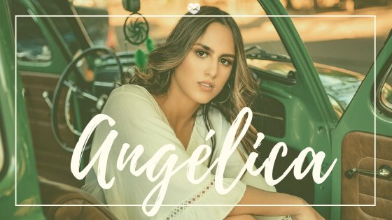 Angélica escrito sobre foto de mulher dentro de um carro