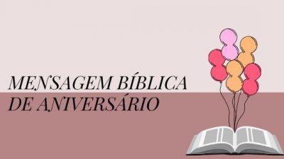 Mensagem bíblica de aniversario escrito ao lado do desenho de uma bíblia aberta