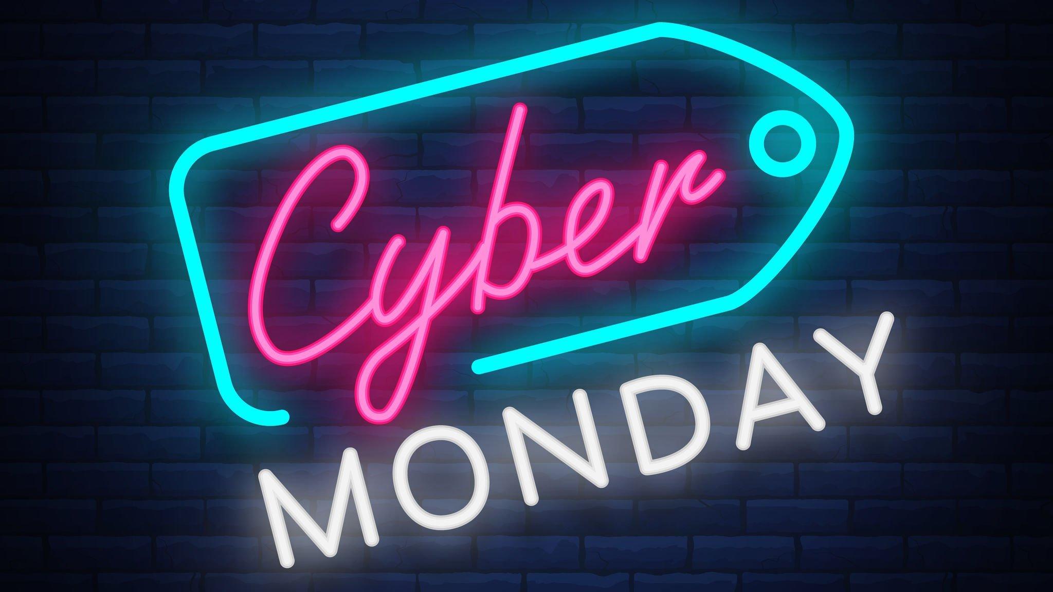 Cyber Monday escrito em luzes neon.