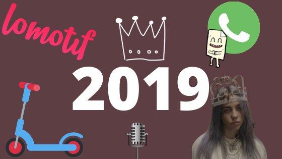 2019 escrito em uma imagem vinho com stickers de elementos pop