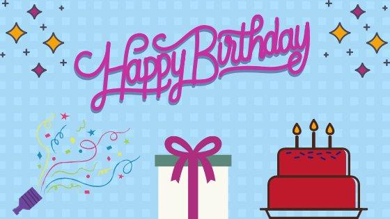 Ilustração de aniversário com escrito: Happy Birthday
