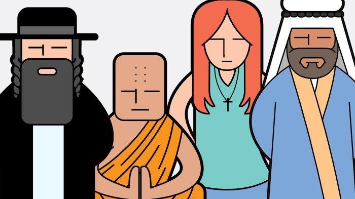 Ilustração de pessoas de diferentes religiões orando.