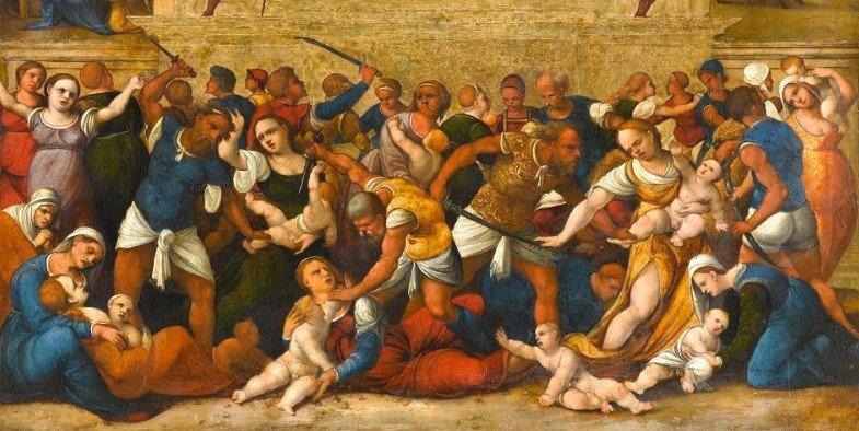 Pintura Massacre dos Inocentes de Ludovico Mazzolinio, localizada no Rijksmuseum em Amsterdã, Holanda.