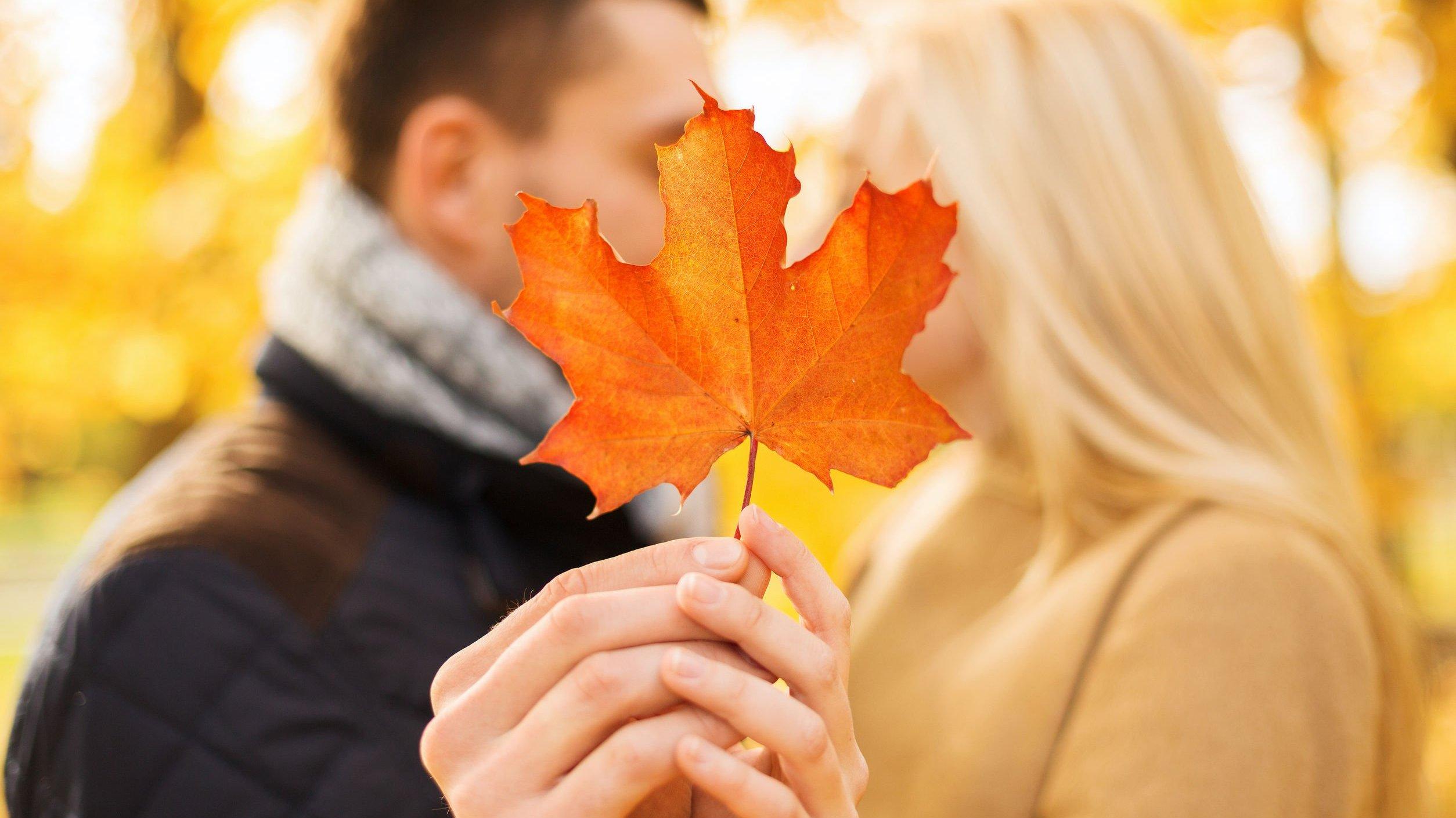 Foto de casal juntos segurando uma folha