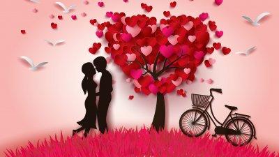 Imagem de casal se beijando com árvore ao lado