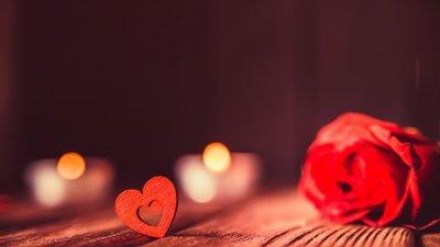 Imagem de coração e rosa
