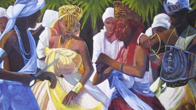 Ilustração de Orixás em roda de Umbanda
