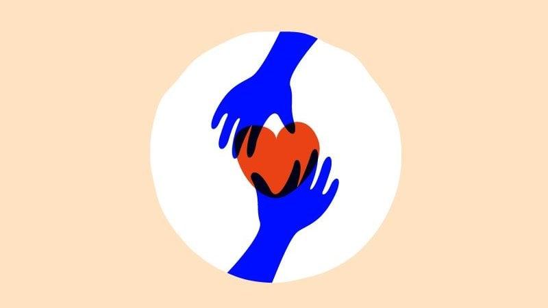Ilustração de duas mãos segurando um coração sobre fundo bege.