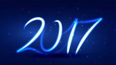 Números formando 2017 em fundo estrelado