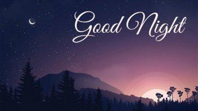 Ilustração de paisagem com pôr-do-sol escrito boa noite em inglês