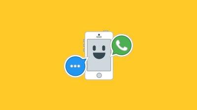 Ilustração de um celular sorrindo com o símbolo do WhatsApp.
