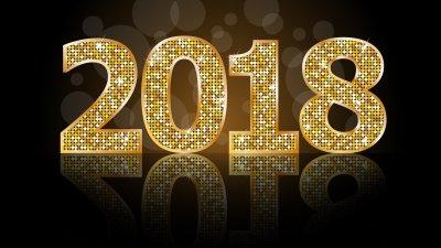 Letreiro dourado com os números 2018 com brilhos.