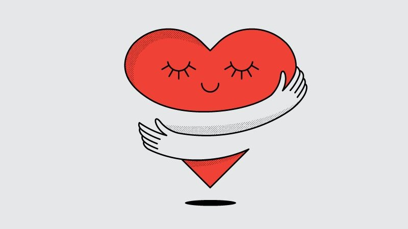 Ilustração de um coração sendo abraçado