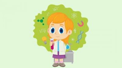 Ilustração de uma garota vestida de jaleco.
