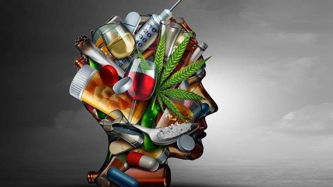 Desenho de cabeça com vários tipos de drogas dentro