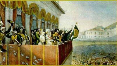Pintura da Família Real em uma sacada.