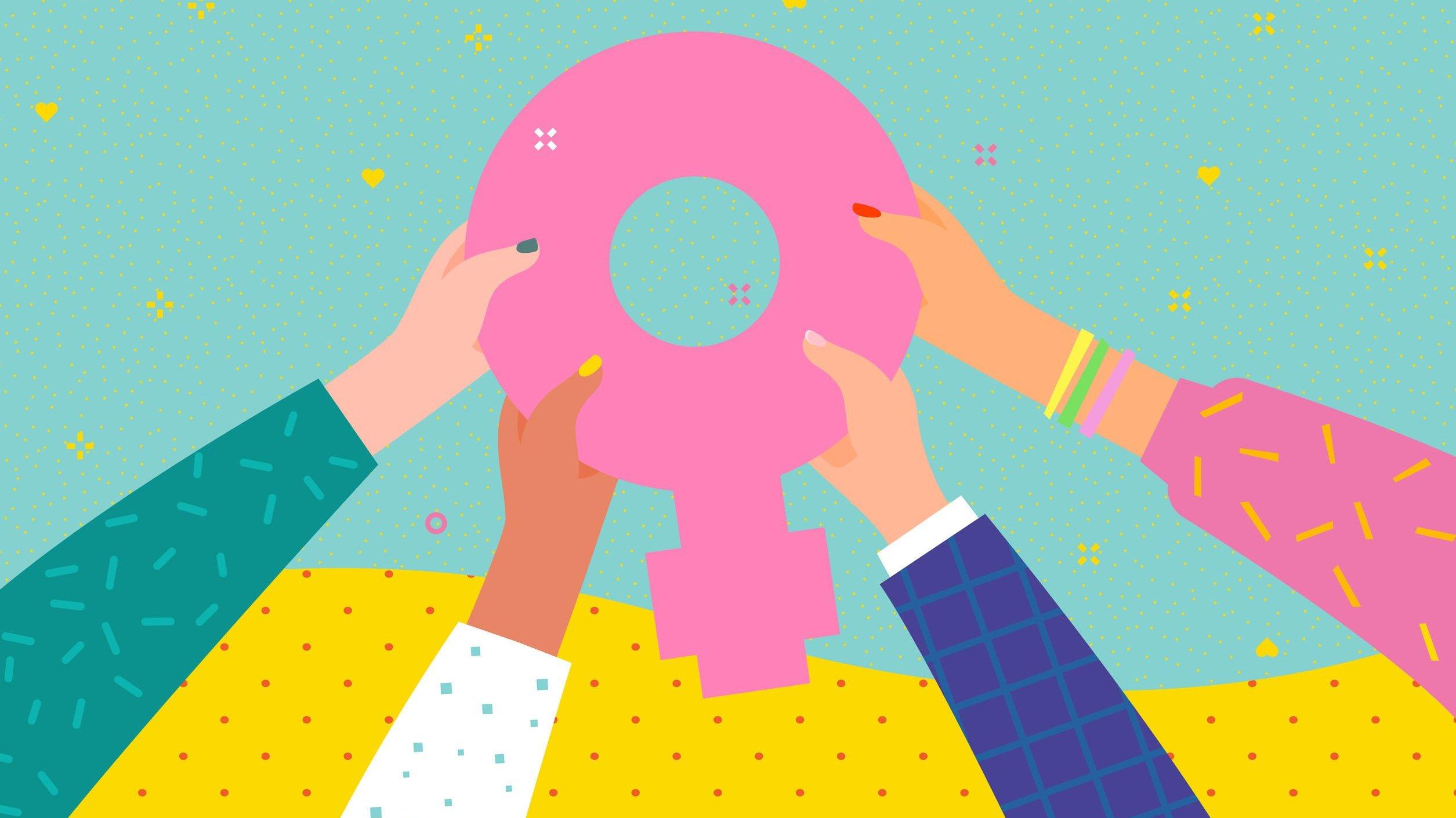 Ilustração de mulheres segurando o símbolo do sexo feminino