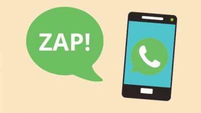 Ilustração de celular com ícone do WhatsApp e balão saindo escrito