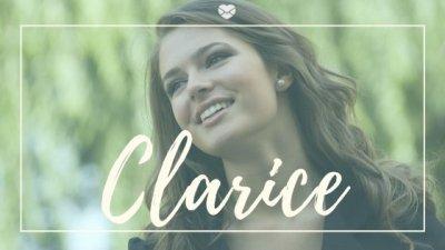 Mulher sorrindo e Clarice escrito abaixo