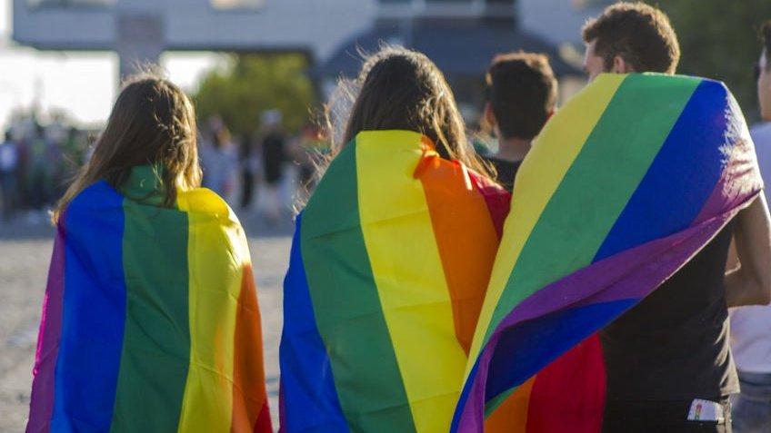 Pessoas com bandeiras LGBT