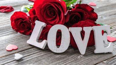 Peças de madeira de letras formando a palavra amor em inglês