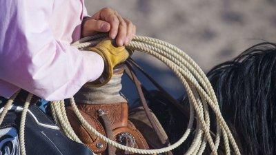 Peão em cima de um cavalo segurando uma corda enrolada em seu pulso. A foto está em detalhe e não é possível ver o rosto do homem e nem a cabeça do cavalo.