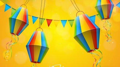 Ilustração de balões de festa junina