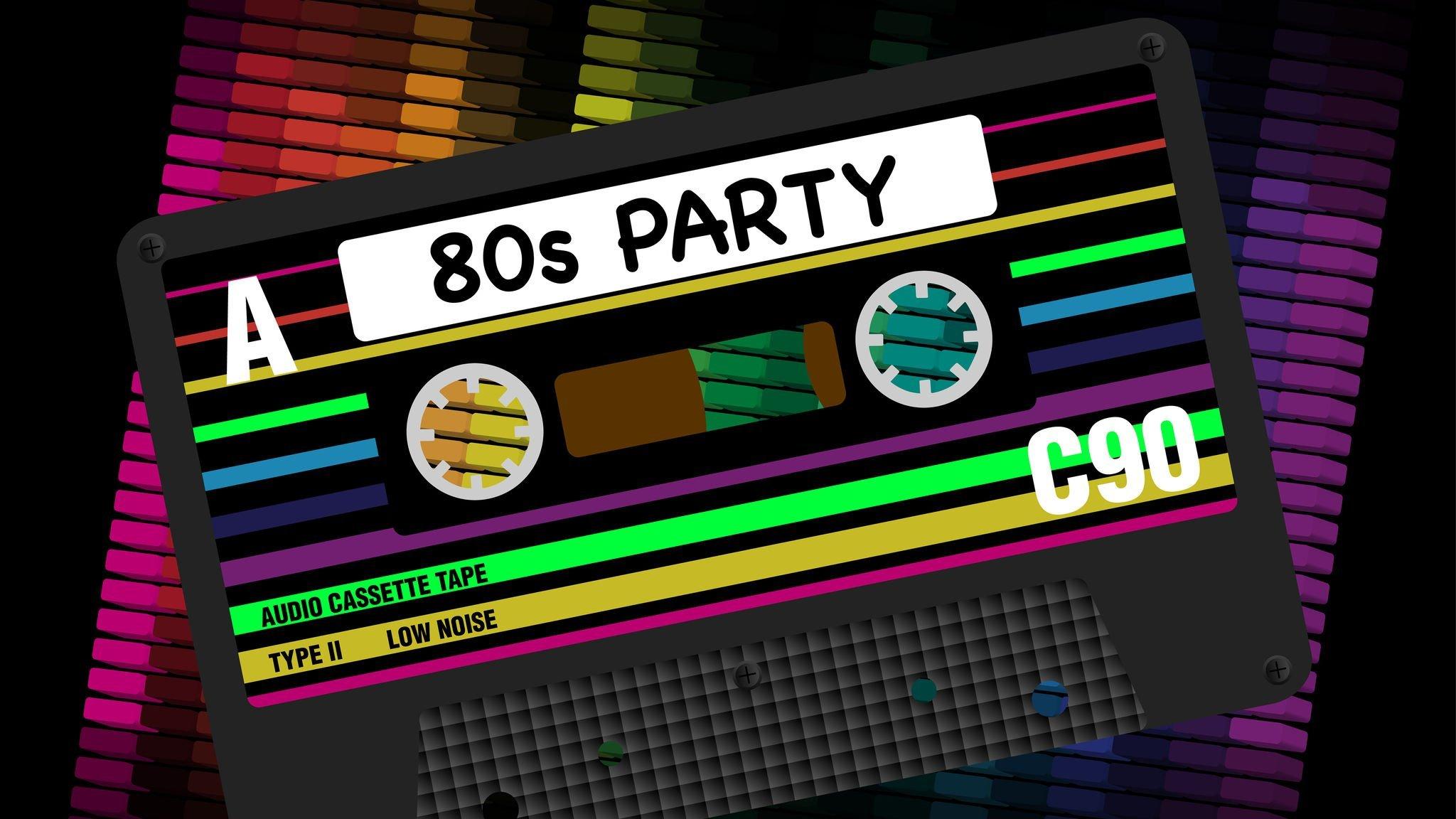Ilustração de fita de música com anos 80 escrito em inglês