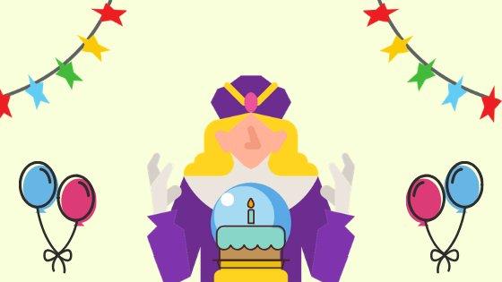 Ilustração de tarólogo mexendo em bola de cristal, ao redor há elementos gráficos de aniversário como balões e bandeirinhas