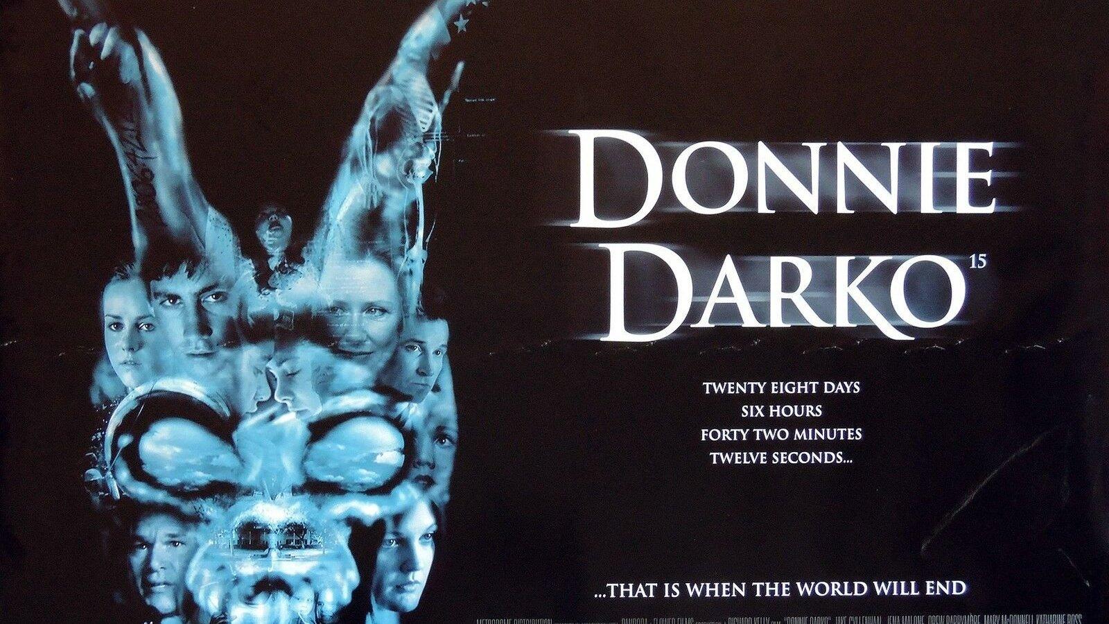 Poster do filme Donnie Darko com a fantasia de coelho de Frank, e sombras de todos os personagens dentro dela.