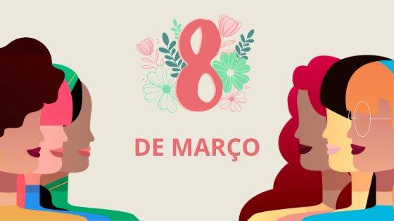 Ilustração de mulheres com escrito oito de março