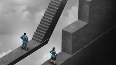 Desenho de homem e mulher subindo escadas diferentes