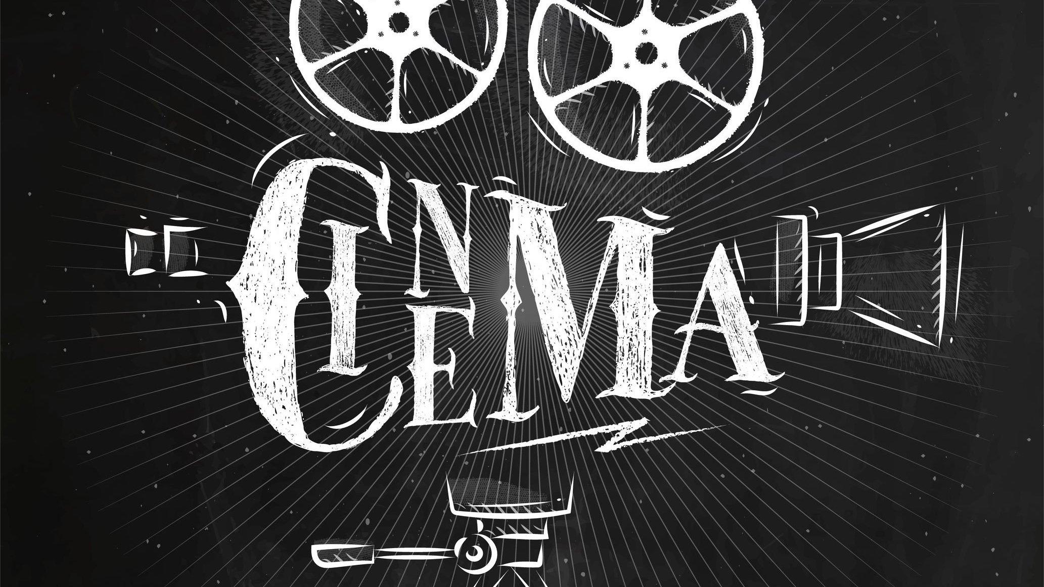 Ilustração da palavra cinema com as letras formando uma câmera