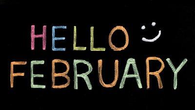 Olá fevereiro escrito em inglês