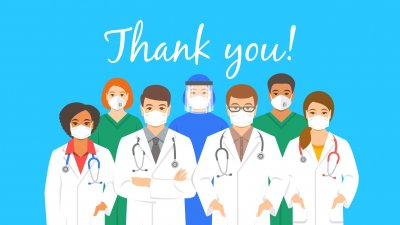 Desenho de profissionais da saúde e a palavra obrigado escrito em inglês